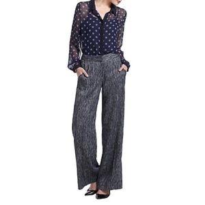 Elevenses Blue Bretton Tweed Wide Leg Pants Sz 8